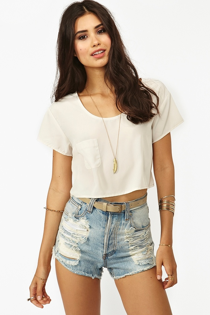 High waisted shorts with crop tops tumblr